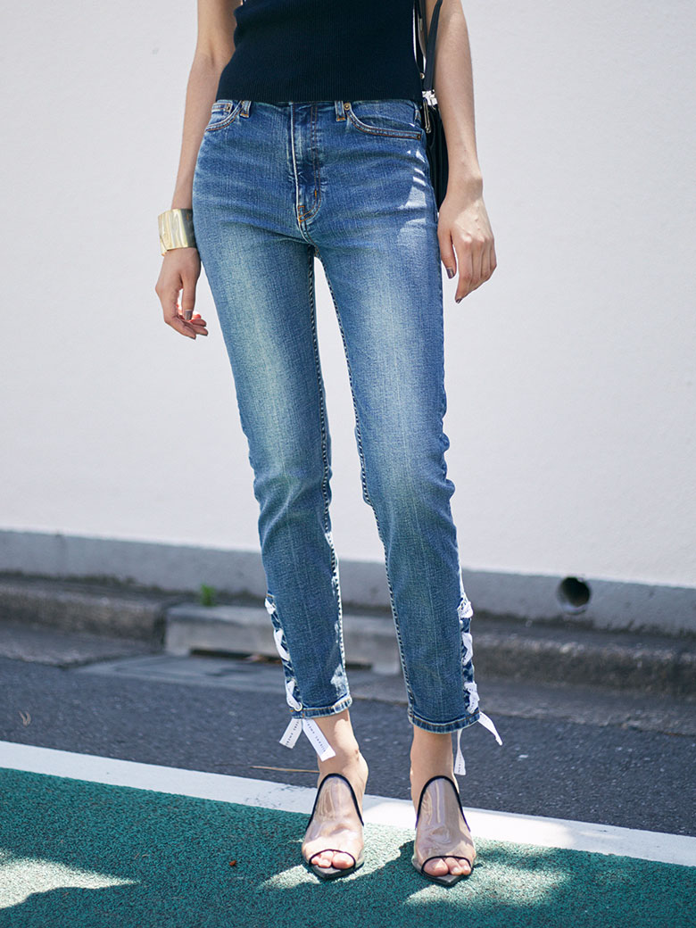 SIDE LACE UP SKINNY DENIM