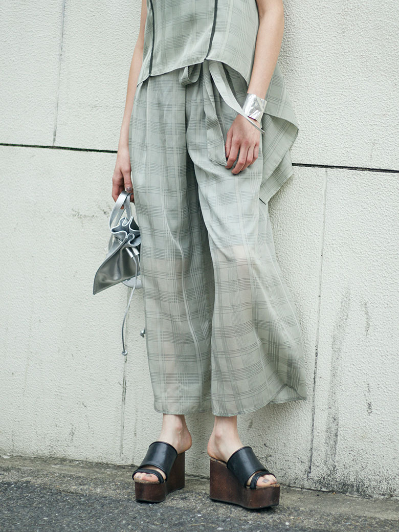 TRANSPARENT CHECK PANTS