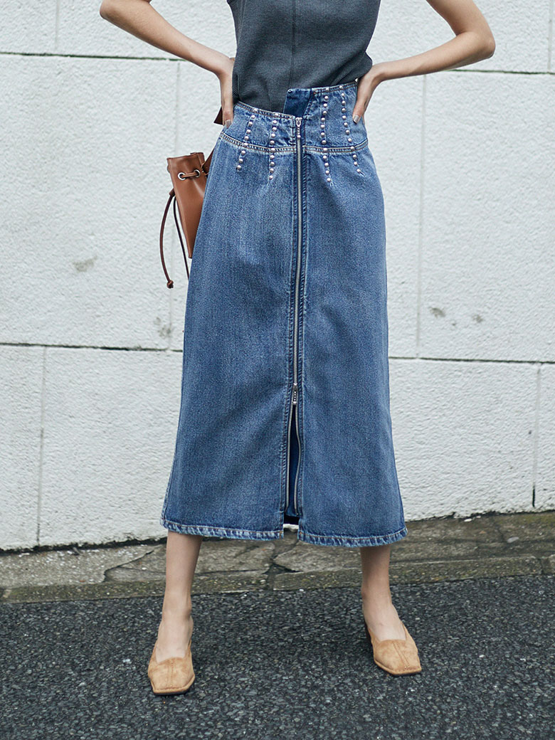 STUDS LINE DENIM SKIRT