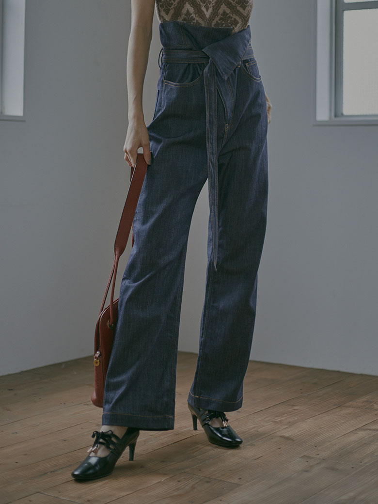WRAP WAIST DENIM PANTS