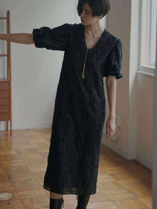 FLOWER JACQUARD STRAIGHT DRESS