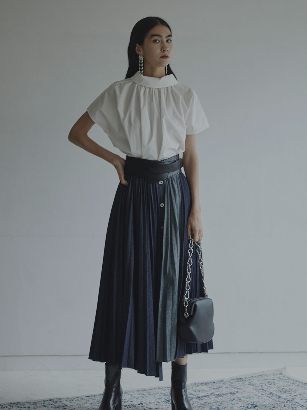 DENIM PLEATS SKIRT
