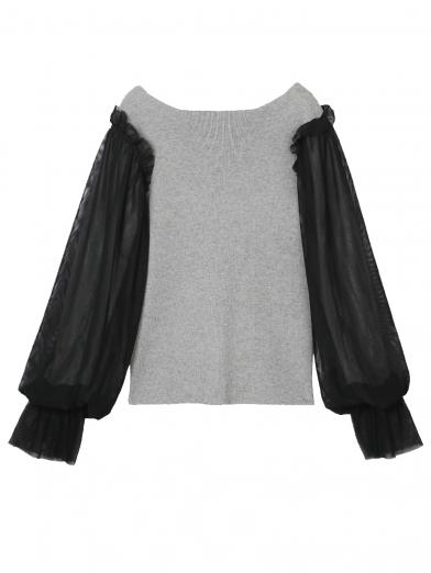 TULLE PUFF SLEEVE KNIT