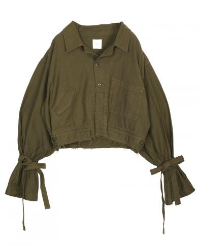 VOLUME BELL SLEEVE MILITARY HALF COAT