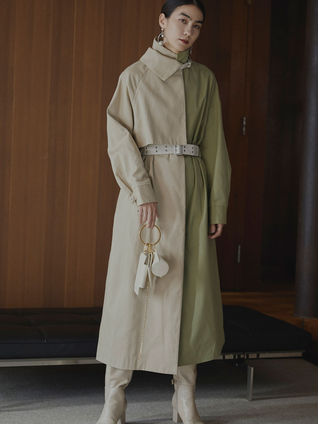 ASYMMETRY STAND COLLAR COAT