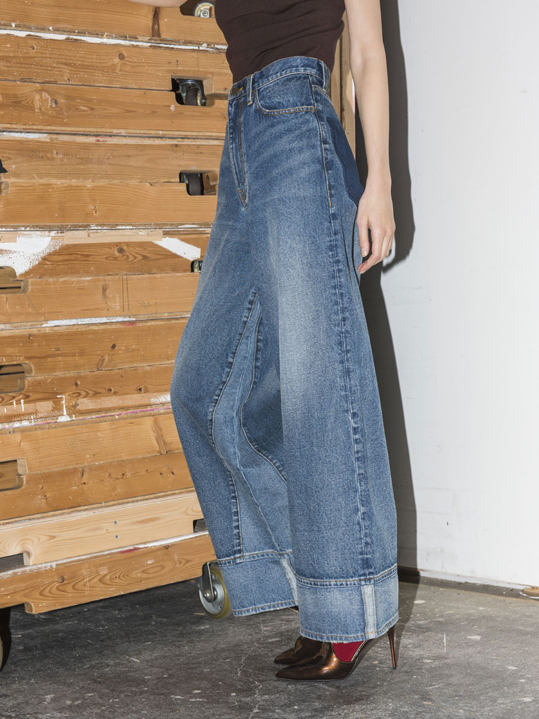 FAKE ROLL UP DENIM PT