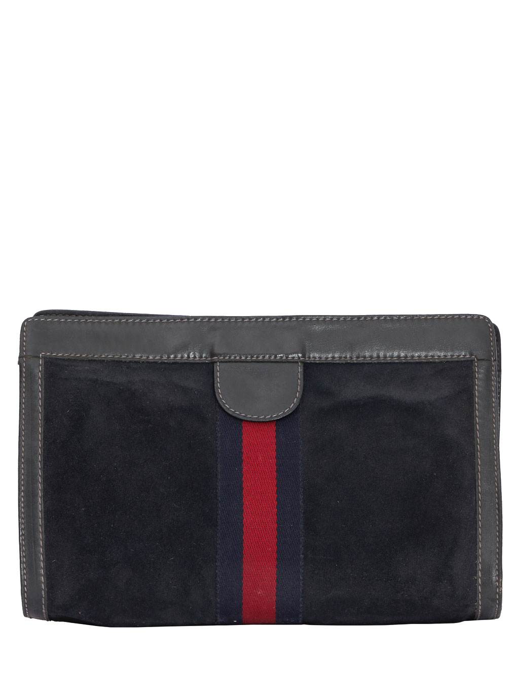 GUCCI シェリーライン SUEDE CLUTCH BAG BL