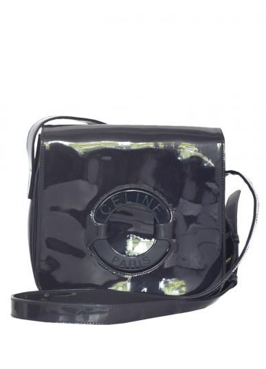 CELINE ENAMEL CIRCLE LOGO SHOULDER BAG