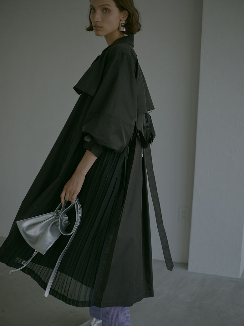 BALLOON SLEEVE PLEATS TRENCH