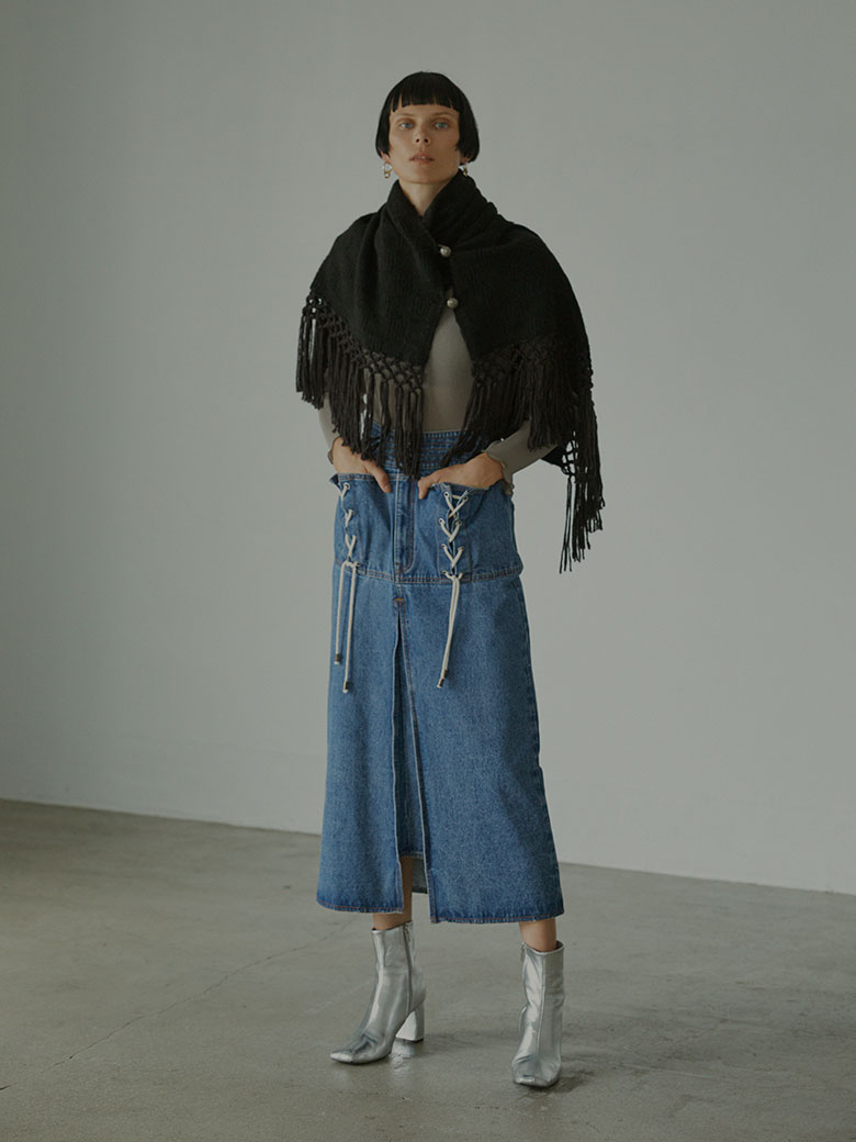UNEVENNESS POCKET DENIM SKIRT