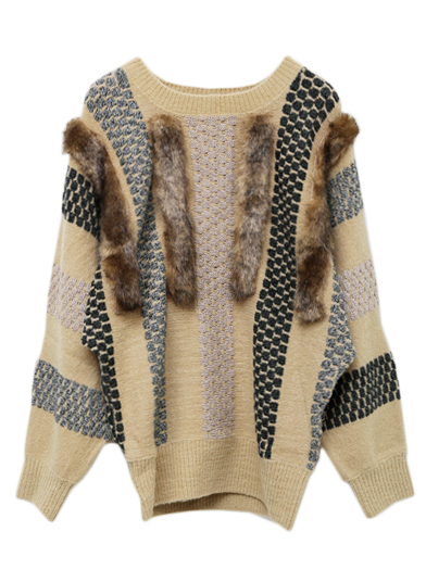 COMBINATION FUR KNIT TOP