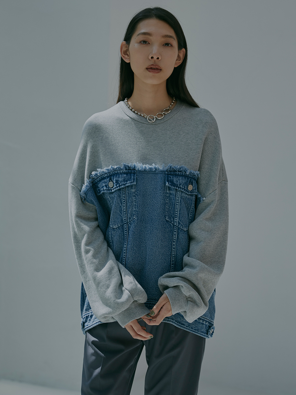 DENIM SWEAT OVER TOP