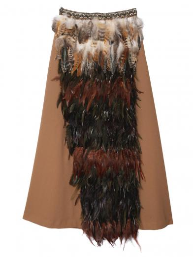 MIX FEATHER FLARE SKIRT