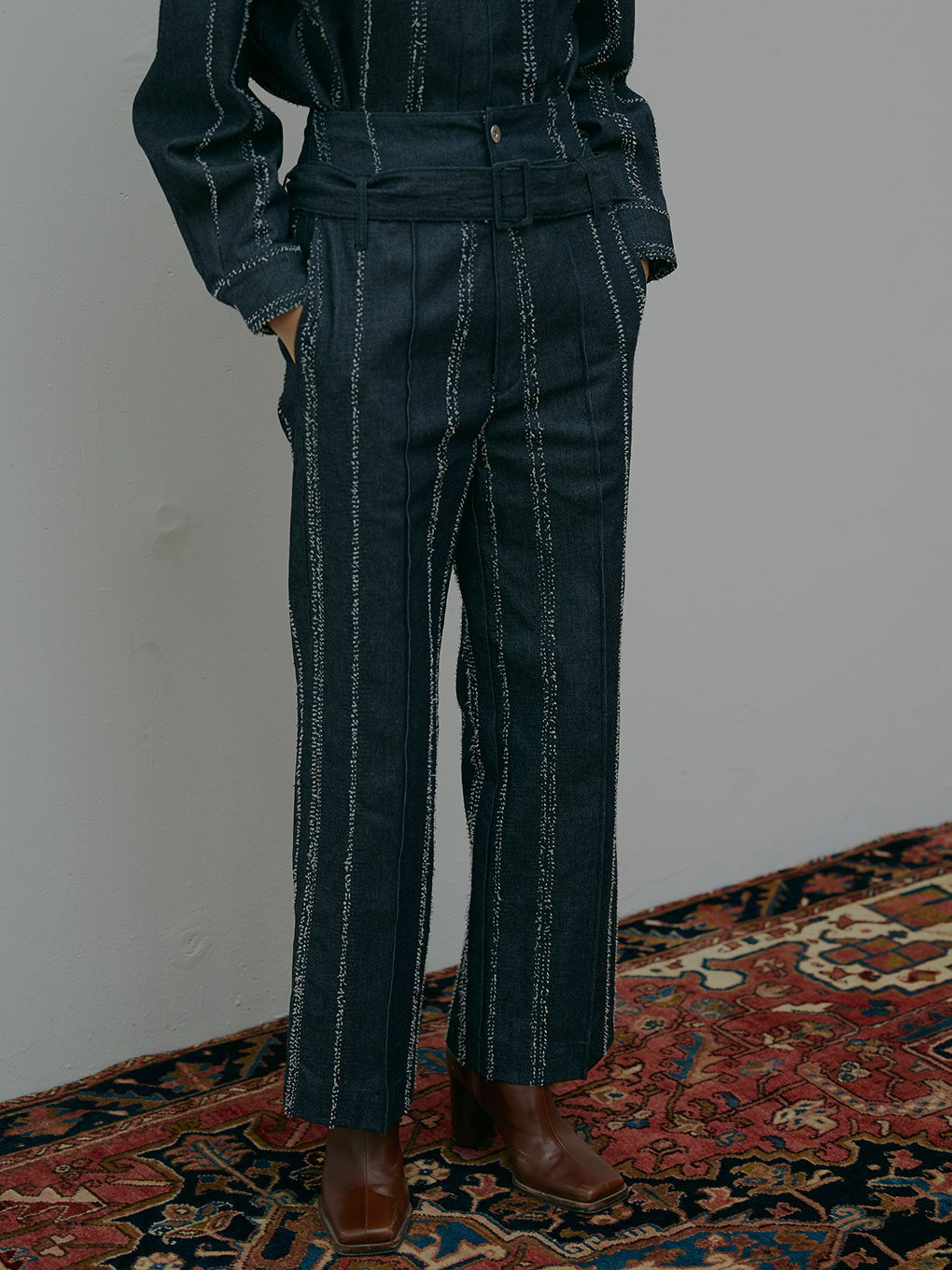 NEEDLE STRIPE DENIM PANTS