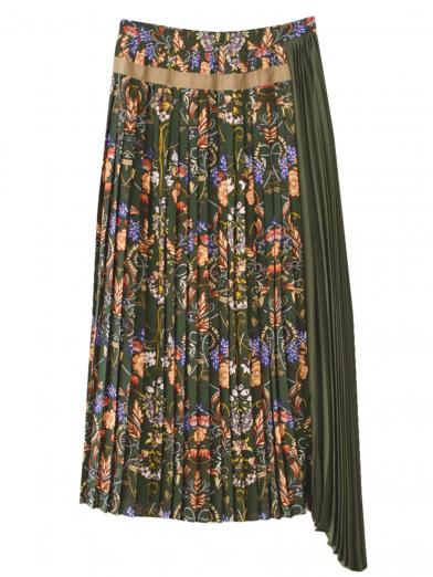 FLOWER SIDE PLEATS SKIRT