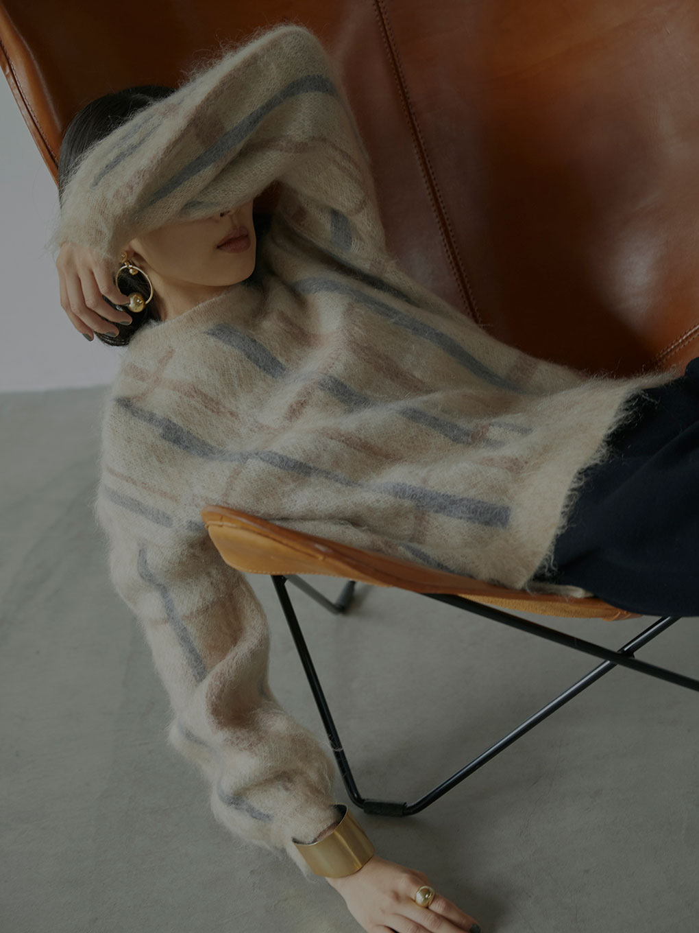 PAINT CHECK FLUFFY KNIT