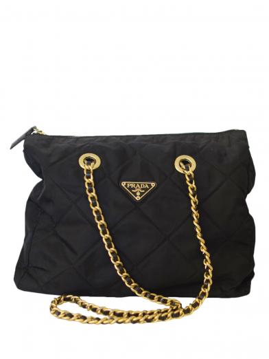 PRADA ナイロン W CHAIN BAG BLK