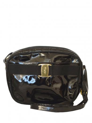 FERRAGAMO ENAMEL SHOULDER BAG