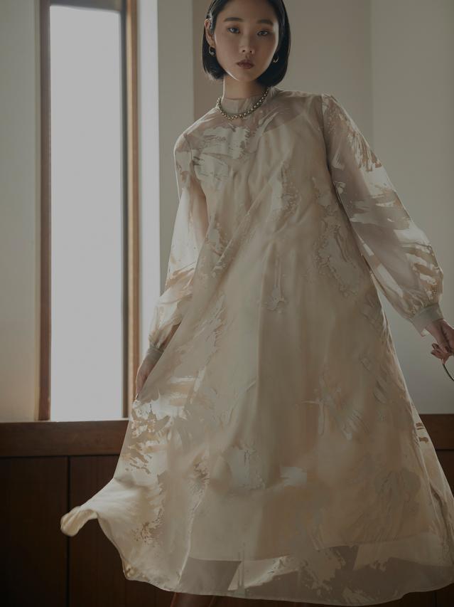 RUBBER PAINT ART SHEER DRESS