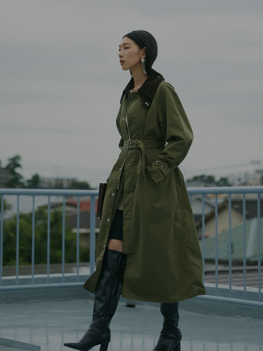 CORDUROY COLLAR MILITARY COAT