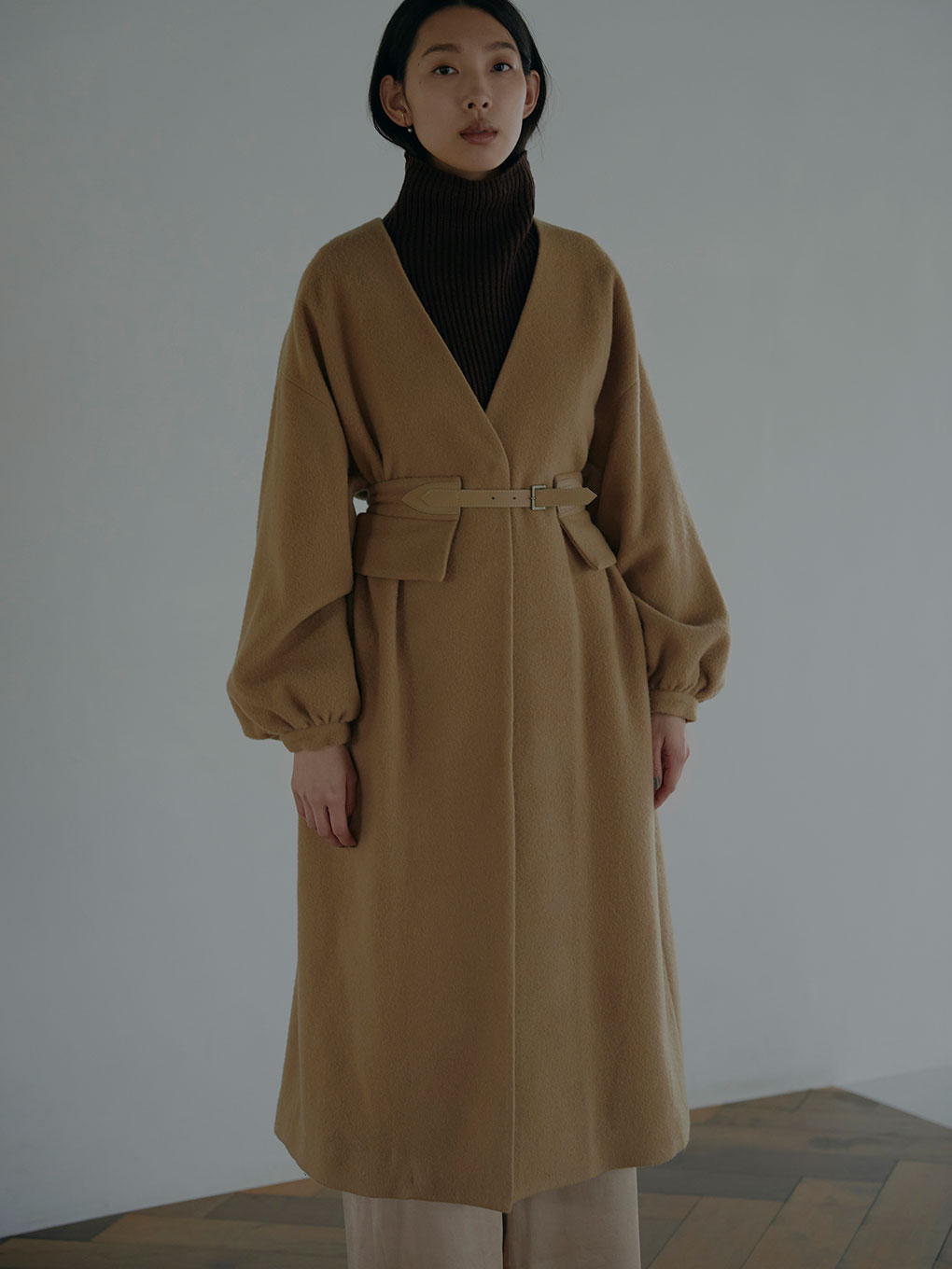 2WAY NO COLLAR BELT COAT
