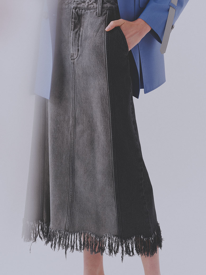 RAGGED DENIM SKIRT