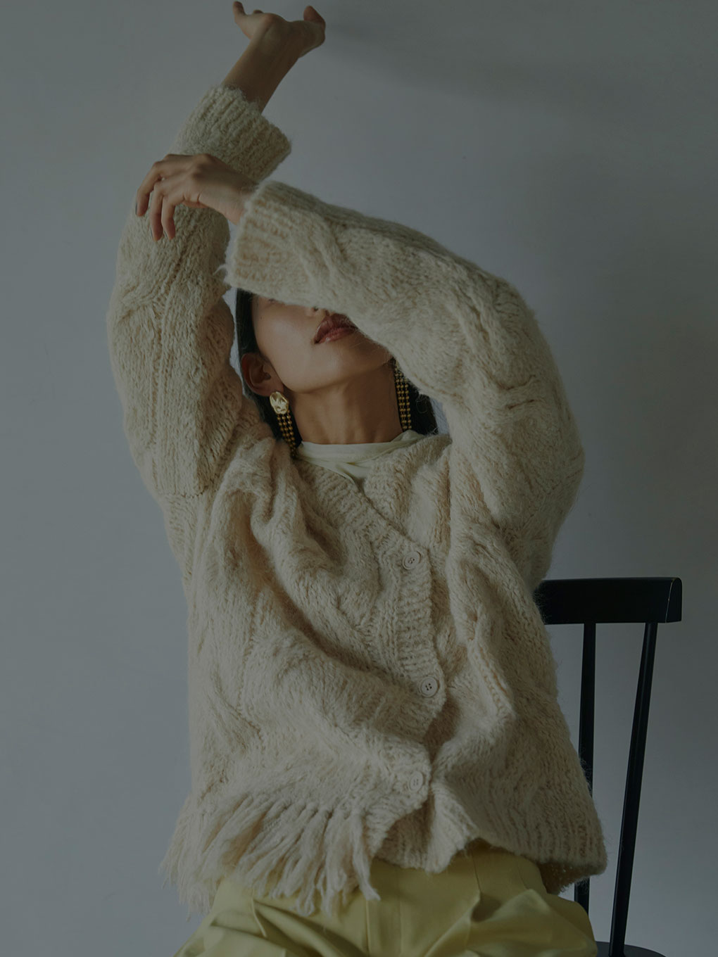 2WAY DISTORTION CABLE CARDIGAN