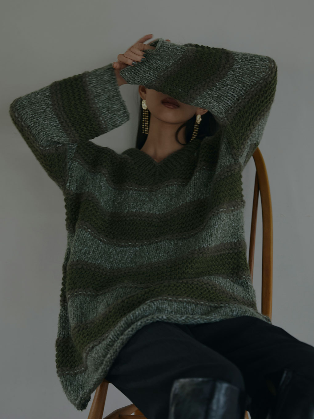 MIX BORDER LOOSE KNIT