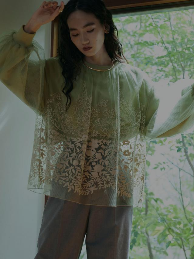 LULA TULLE EMBROIDERY SWEAT TOPS