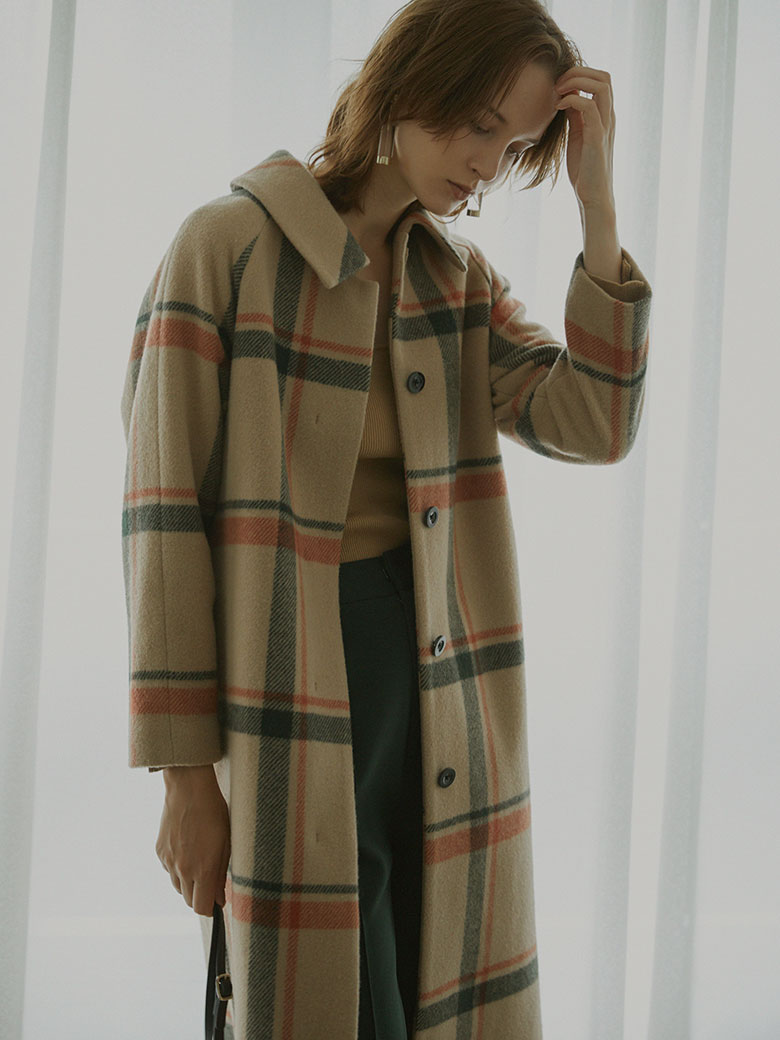 CHECK SOUTIEN COLLAR  COAT