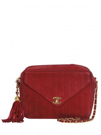 CHANEL FRINGE SUEDE SHOULDER BAG