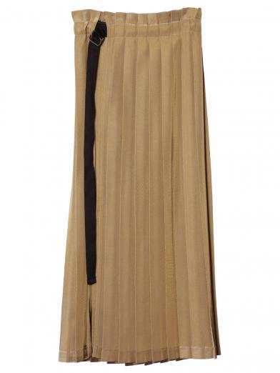 PLEATS LAYERED WRAP SKIRT