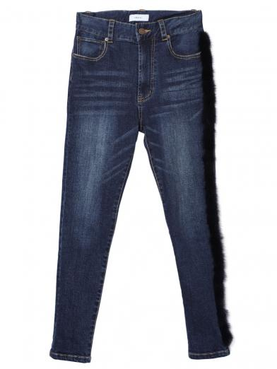 FUR DOCKING SKINNY DENIM