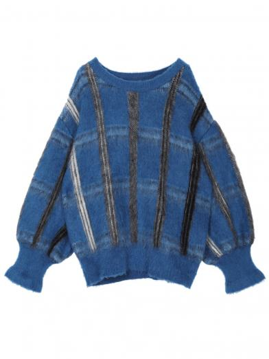 MOHAIR STRANGE CHECK KNIT
