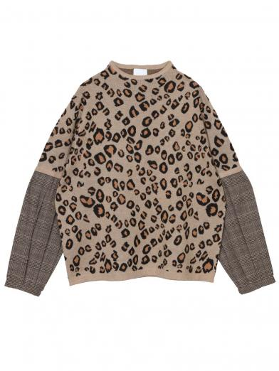LEOPARD AND CHECK KNIT