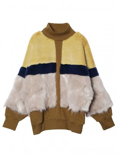 FUR COLOR BLOCK SWEAT