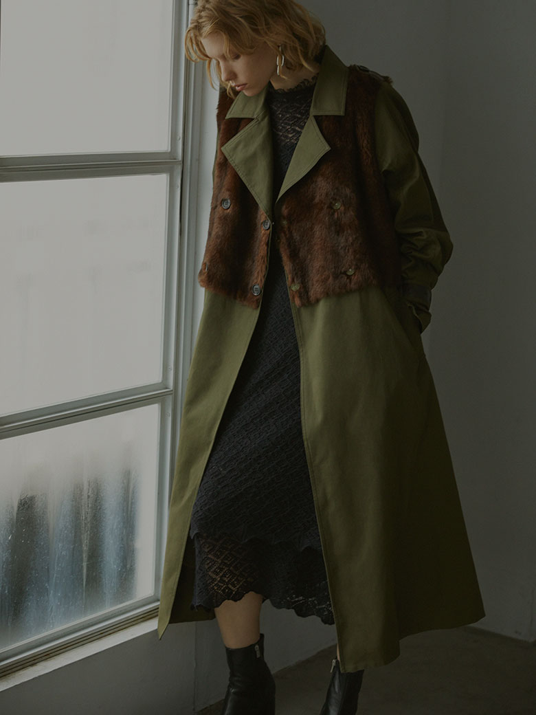 UNDRESSED ECO FUR TRENCH COAT