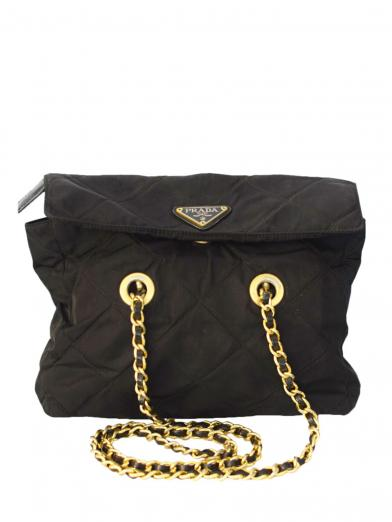 PRADA ナイロン FLAP  W CHAIN BAG