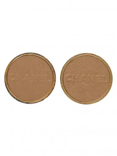 CHANEL LEATHER LOGO EARRINGS