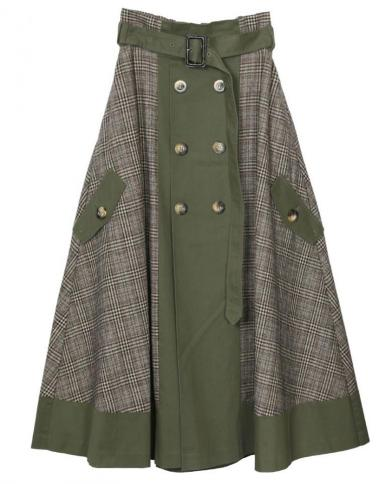 CHECK TRENCH SKIRT