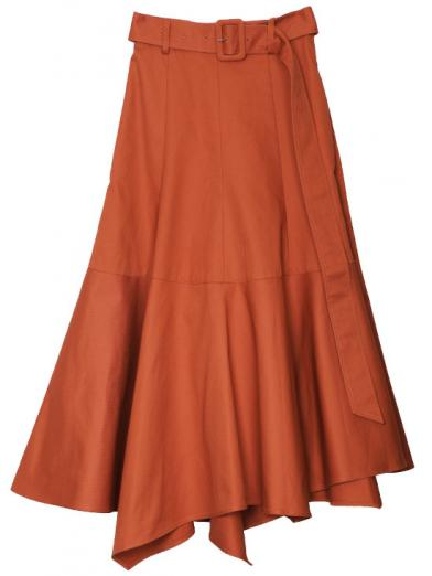 COLOR IRREGULAR HEM SKIRT
