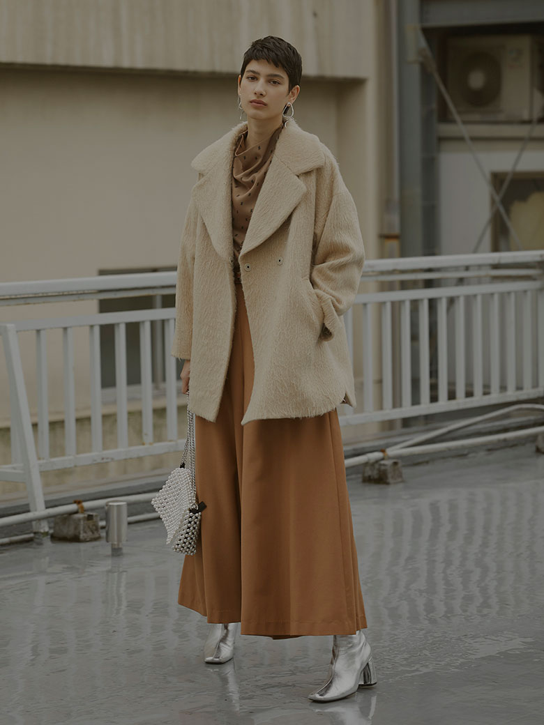 UNDRESSED ROUND SHAGGY MIDI COAT