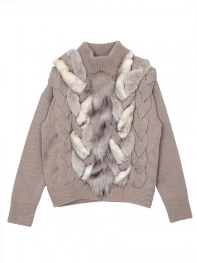 FUR BRAID CABLE KNIT