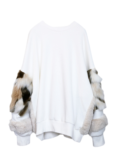 FUR PATCHWORK SWEAT