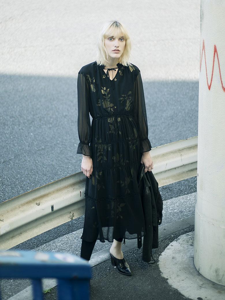 BELINDA SHIRRING LONG DRESS