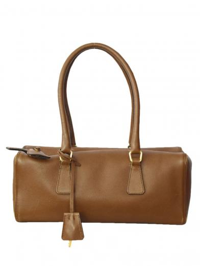 PRADA LEATHER BOX BOSTON BAG