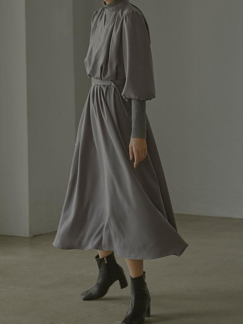 BALLOON SLEEVE RIB DRESS
