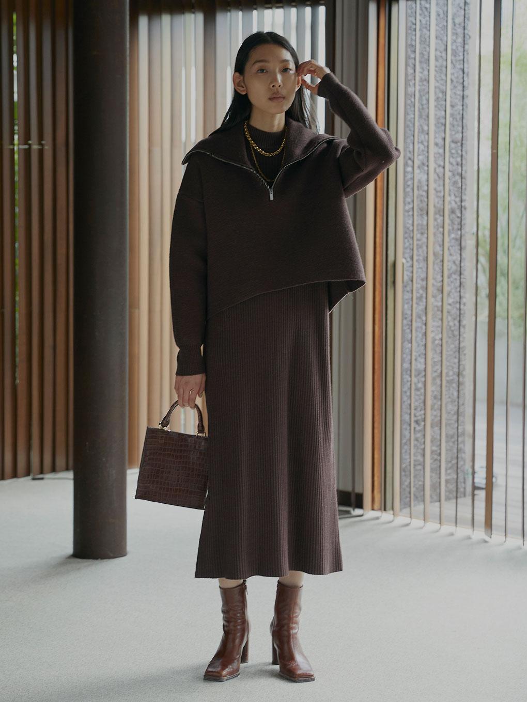 BIG COLLAR SET KNIT DRESS