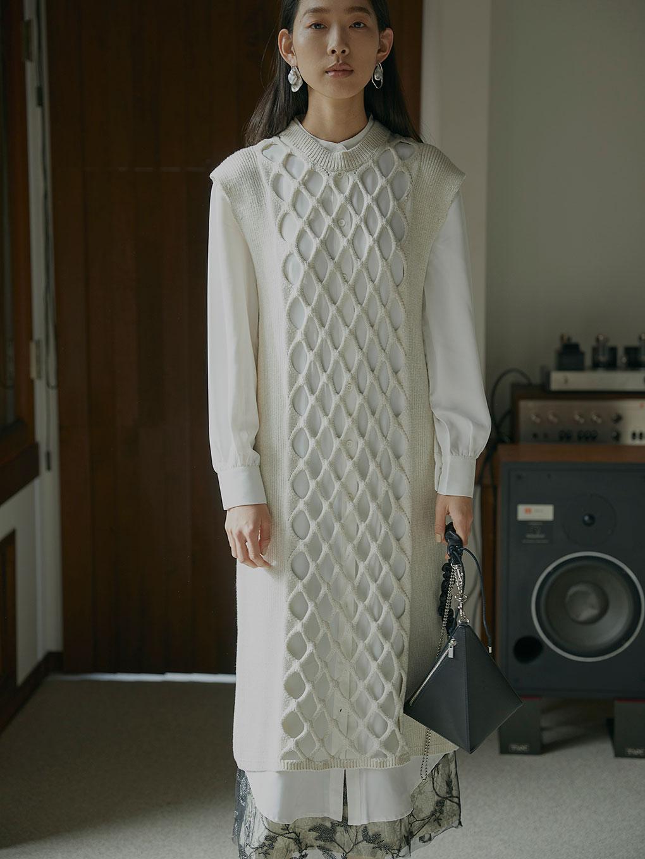LAYERED MESH KNIT DRESS