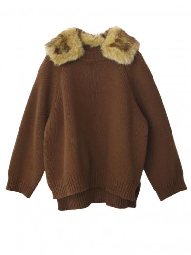 FUR COLLAR KNIT